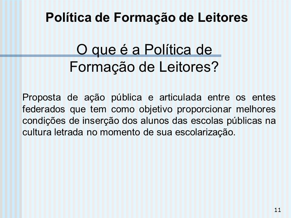 11 Política de Formação de Leitores O que é a Política de Formação de Leitores? Proposta de ação pública e articulada entre os entes federados que tem