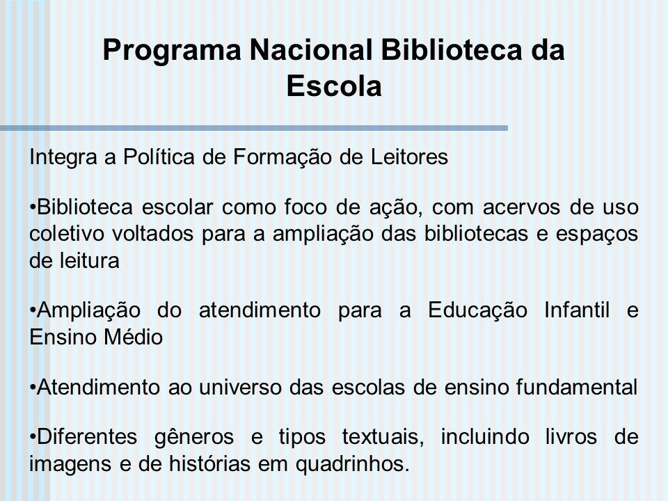 Programa Nacional Biblioteca da Escola Integra a Política de Formação de Leitores Biblioteca escolar como foco de ação, com acervos de uso coletivo vo