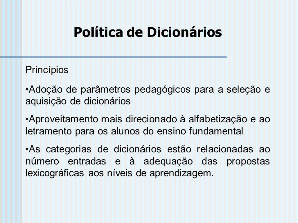 Política de Dicionários Princípios Adoção de parâmetros pedagógicos para a seleção e aquisição de dicionários Aproveitamento mais direcionado à alfabe