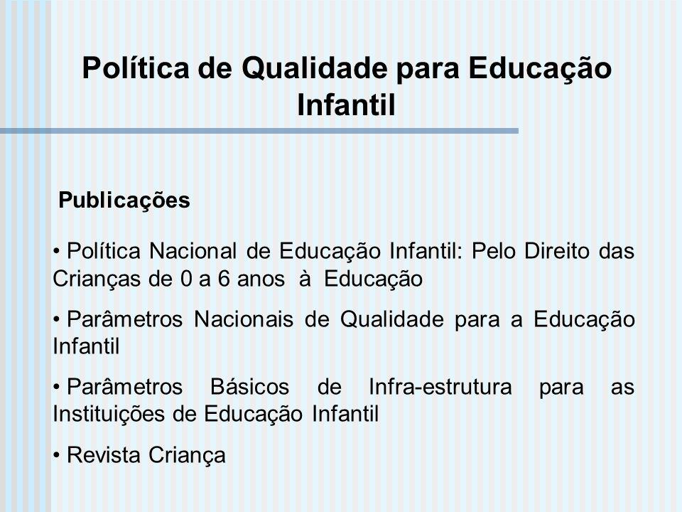 Política de Qualidade para Educação Infantil Política Nacional de Educação Infantil: Pelo Direito das Crianças de 0 a 6 anos à Educação Parâmetros Nac