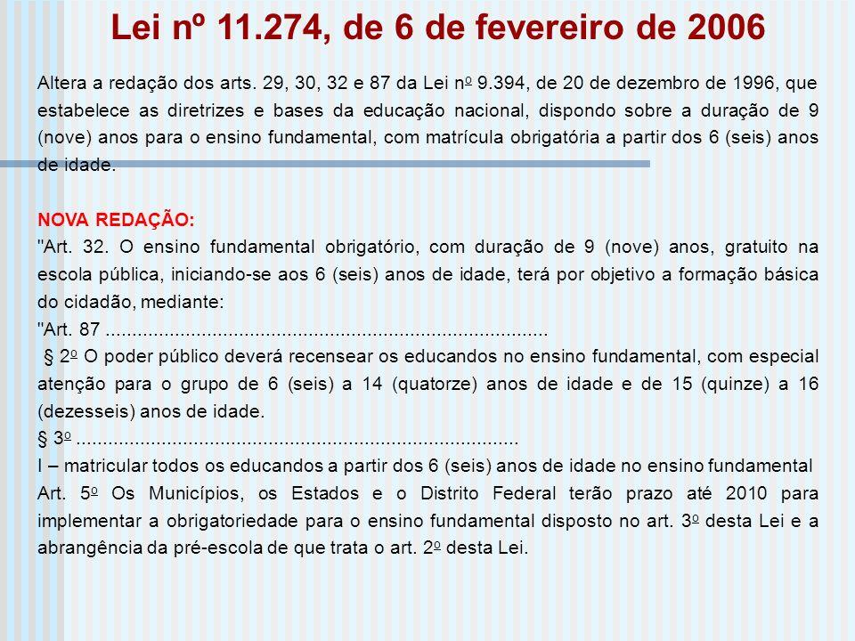 Altera a redação dos arts. 29, 30, 32 e 87 da Lei n o 9.394, de 20 de dezembro de 1996, que estabelece as diretrizes e bases da educação nacional, dis