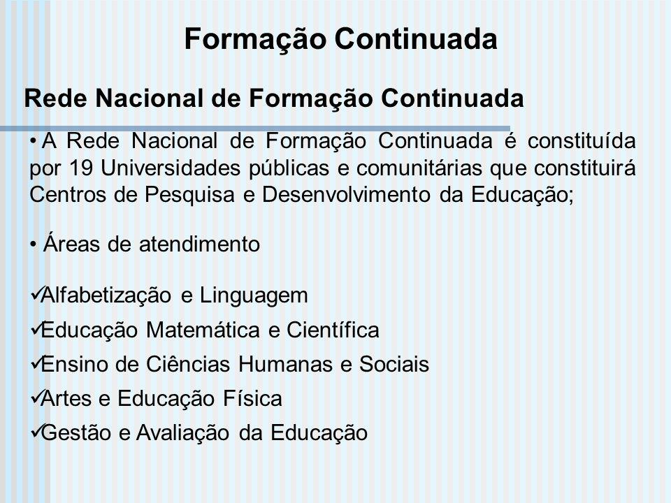 Formação Continuada A Rede Nacional de Formação Continuada é constituída por 19 Universidades públicas e comunitárias que constituirá Centros de Pesqu