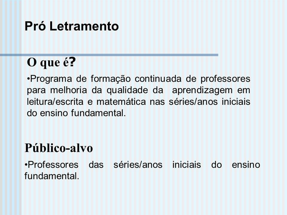 Pró Letramento O que é ? Programa de formação continuada de professores para melhoria da qualidade da aprendizagem em leitura/escrita e matemática nas