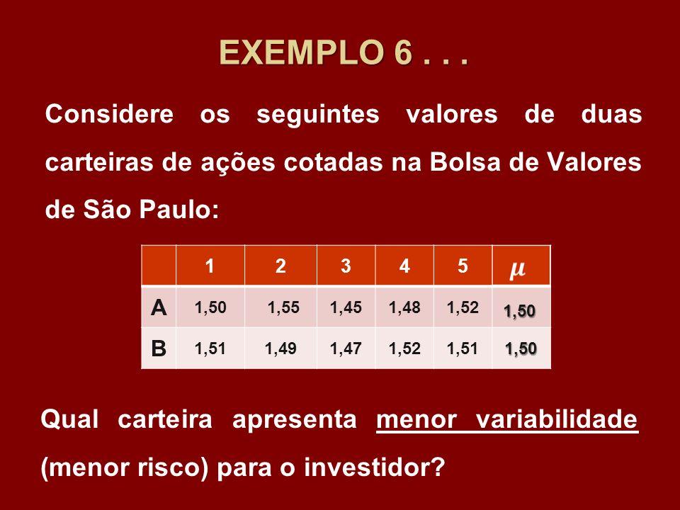 EXEMPLO 6... Considere os seguintes valores de duas carteiras de ações cotadas na Bolsa de Valores de São Paulo: 12345 A 1,50 1,551,451,481,52 B 1,511