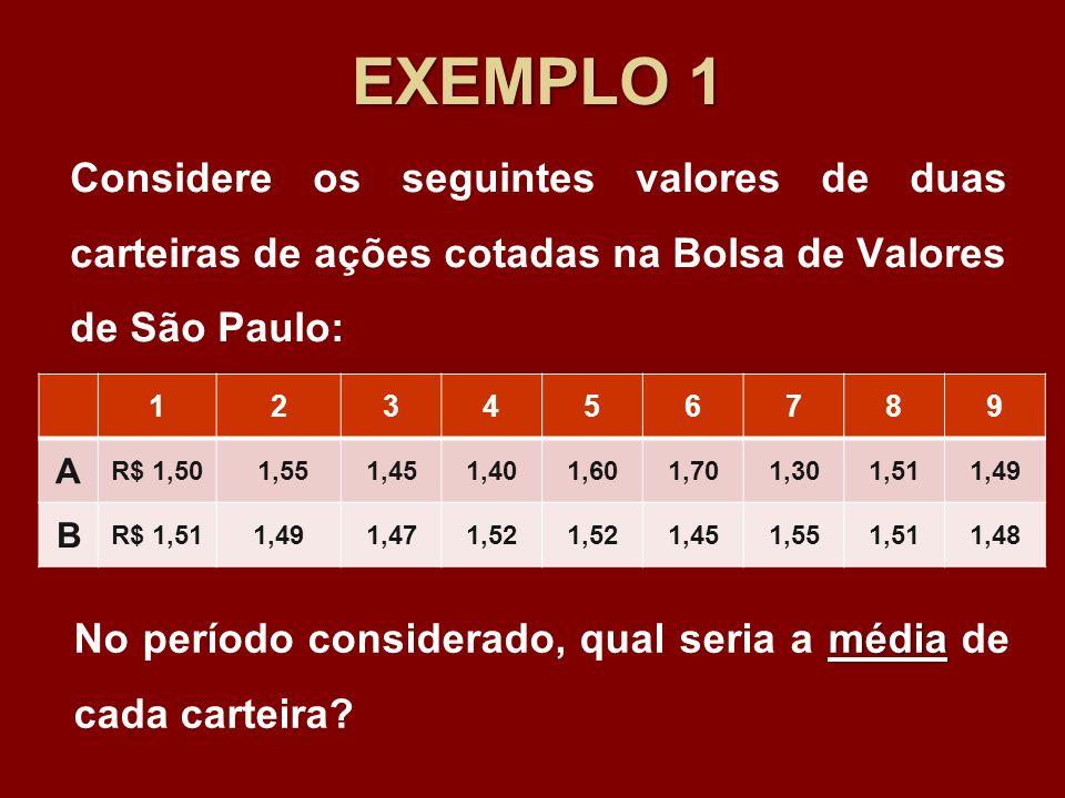 EXEMPLO 1 Considere os seguintes valores de duas carteiras de ações cotadas na Bolsa de Valores de São Paulo: 123456789 A R$ 1,50 1,551,451,401,601,70