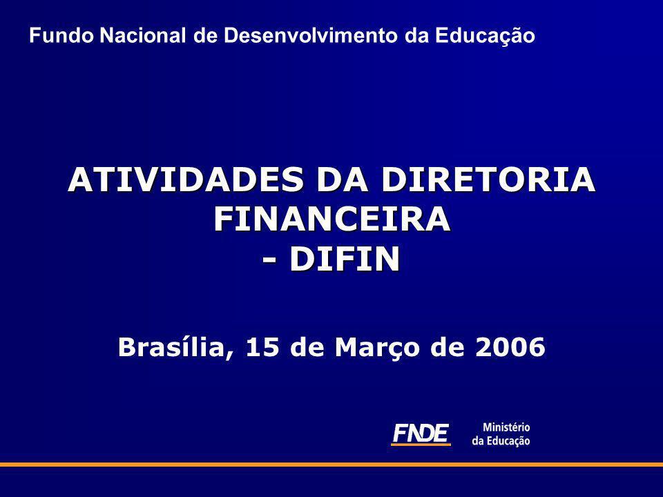 Fundo Nacional de Desenvolvimento da Educação ATIVIDADES DA DIRETORIA FINANCEIRA - DIFIN ATIVIDADES DA DIRETORIA FINANCEIRA - DIFIN Brasília, 15 de Ma