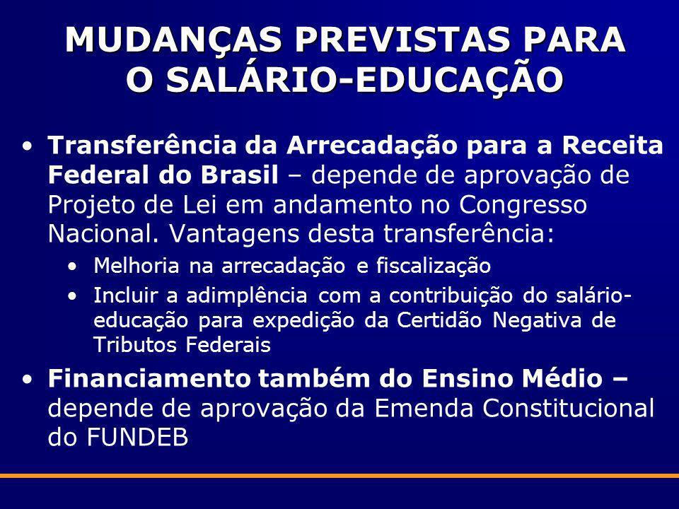 MUDANÇAS PREVISTAS PARA O SALÁRIO-EDUCAÇÃO Transferência da Arrecadação para a Receita Federal do Brasil – depende de aprovação de Projeto de Lei em a