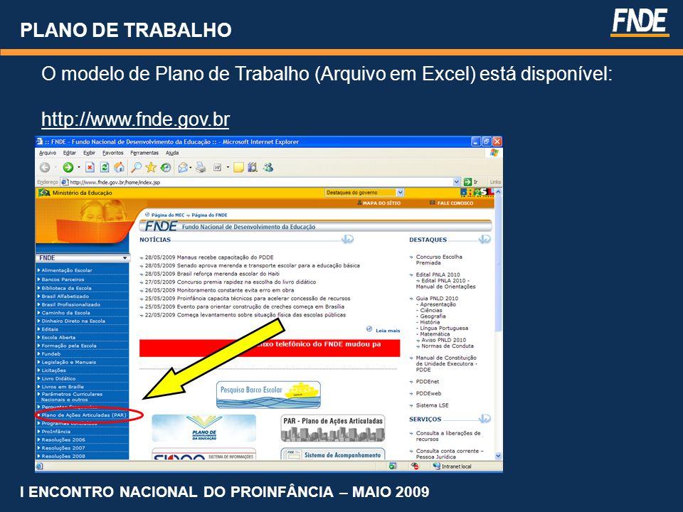 PLANO DE TRABALHO O modelo de Plano de Trabalho (Arquivo em Excel) está disponível: http://www.fnde.gov.br I ENCONTRO NACIONAL DO PROINFÂNCIA – MAIO 2