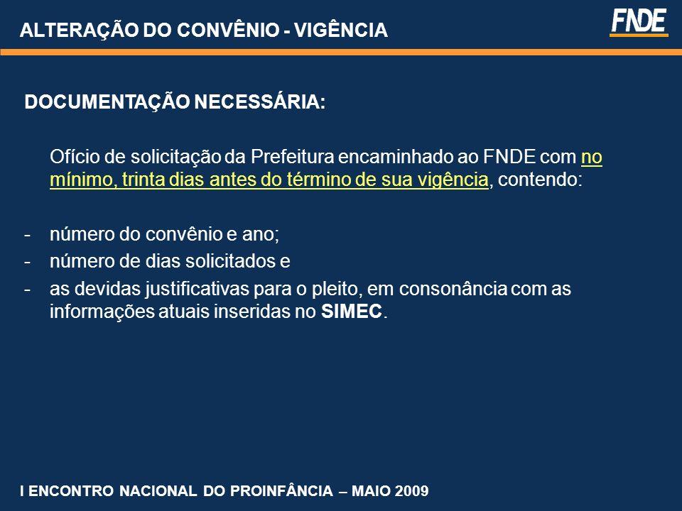 ALTERAÇÃO DO CONVÊNIO - VIGÊNCIA DOCUMENTAÇÃO NECESSÁRIA: Ofício de solicitação da Prefeitura encaminhado ao FNDE com no mínimo, trinta dias antes do