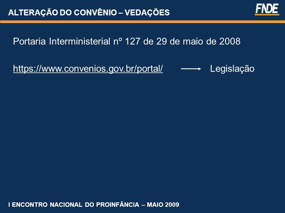 ALTERAÇÃO DO CONVÊNIO – VEDAÇÕES Portaria Interministerial nº 127 de 29 de maio de 2008 https://www.convenios.gov.br/portal/ Legislação I ENCONTRO NAC