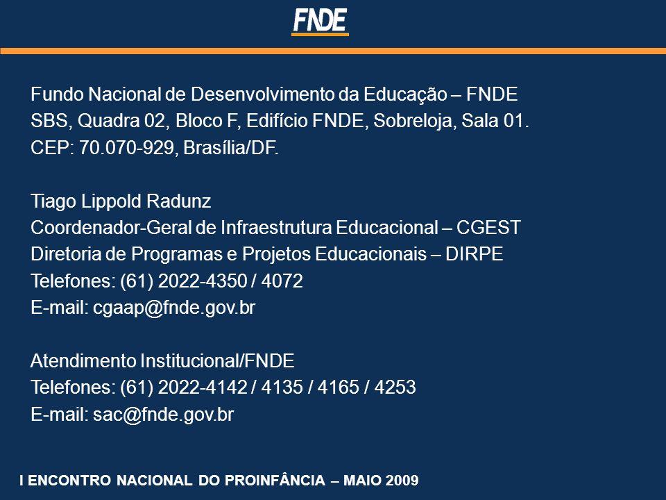 Fundo Nacional de Desenvolvimento da Educação – FNDE SBS, Quadra 02, Bloco F, Edifício FNDE, Sobreloja, Sala 01. CEP: 70.070-929, Brasília/DF. Tiago L