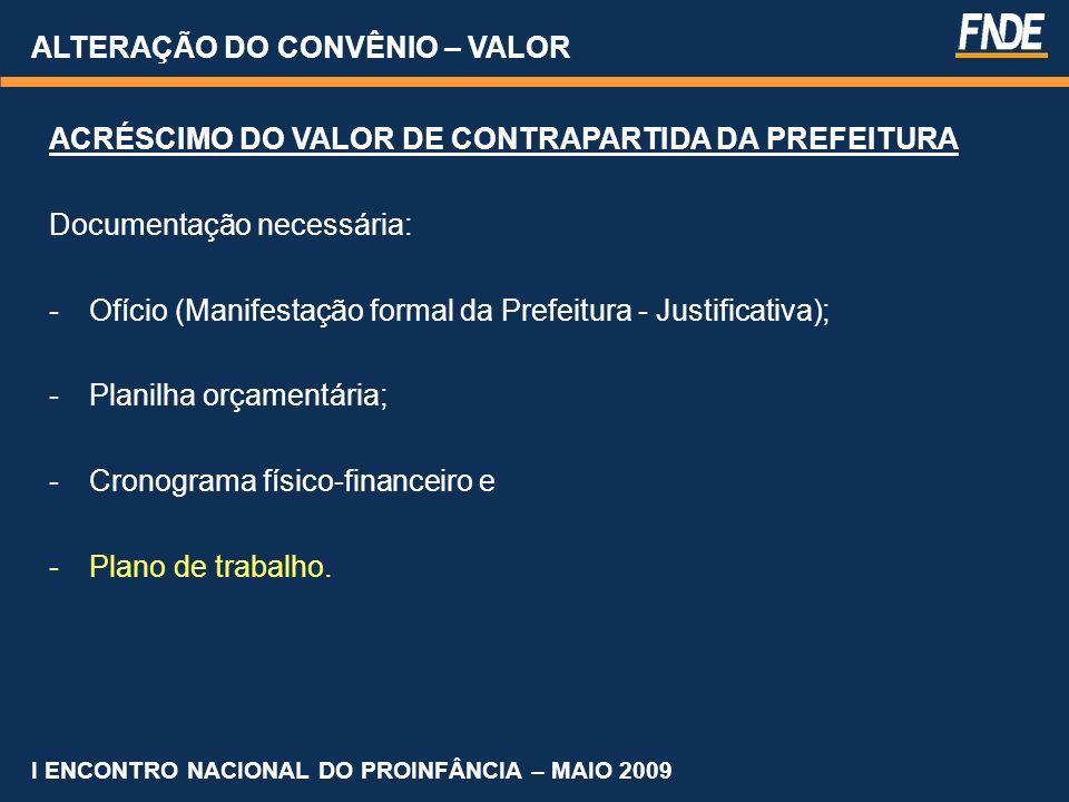 ALTERAÇÃO DO CONVÊNIO – VALOR ACRÉSCIMO DO VALOR DE CONTRAPARTIDA DA PREFEITURA Documentação necessária: -Ofício (Manifestação formal da Prefeitura -