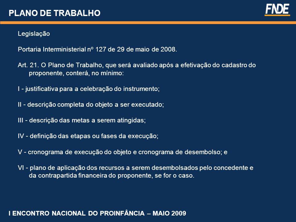 PLANO DE TRABALHO Legislação Portaria Interministerial nº 127 de 29 de maio de 2008. Art. 21. O Plano de Trabalho, que será avaliado após a efetivação