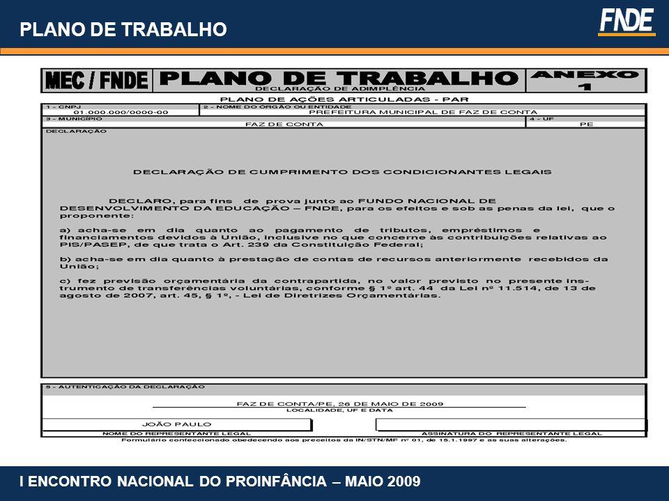 PLANO DE TRABALHO Portaria Interministerial nº 127 de 29 de maio de 2008.
