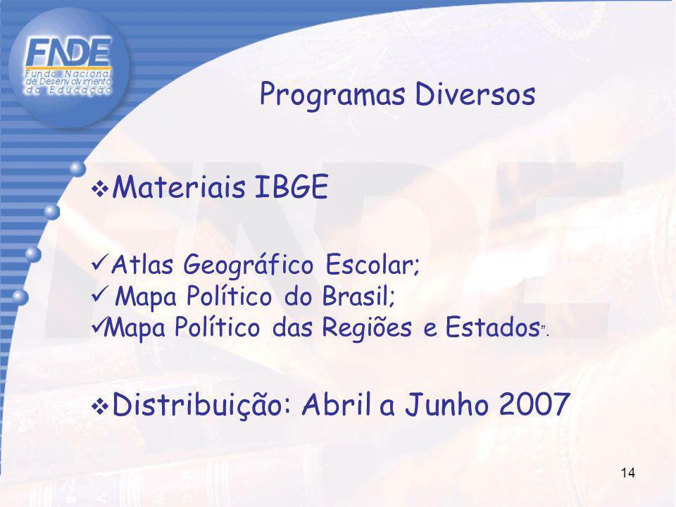14 Materiais IBGE Atlas Geográfico Escolar; Mapa Político do Brasil; Mapa Político das Regiões e Estados. Distribuição: Abril a Junho 2007 Programas D