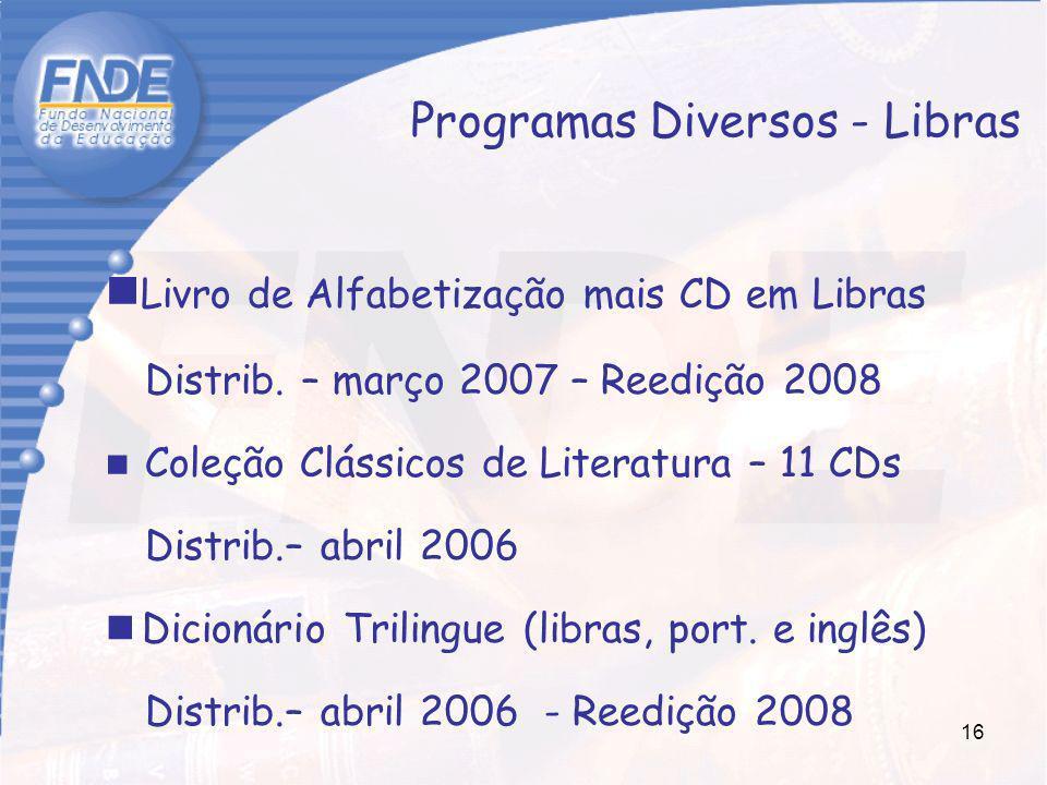 16 Livro de Alfabetização mais CD em Libras Distrib. – março 2007 – Reedição 2008 Coleção Clássicos de Literatura – 11 CDs Distrib.– abril 2006 Dicion