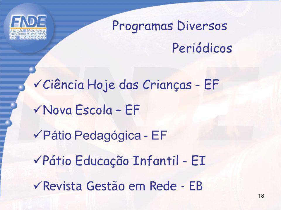 18 Ciência Hoje das Crianças - EF Nova Escola – EF Pátio Pedagógica - EF Pátio Educação Infantil - EI Revista Gestão em Rede - EB Programas Diversos P