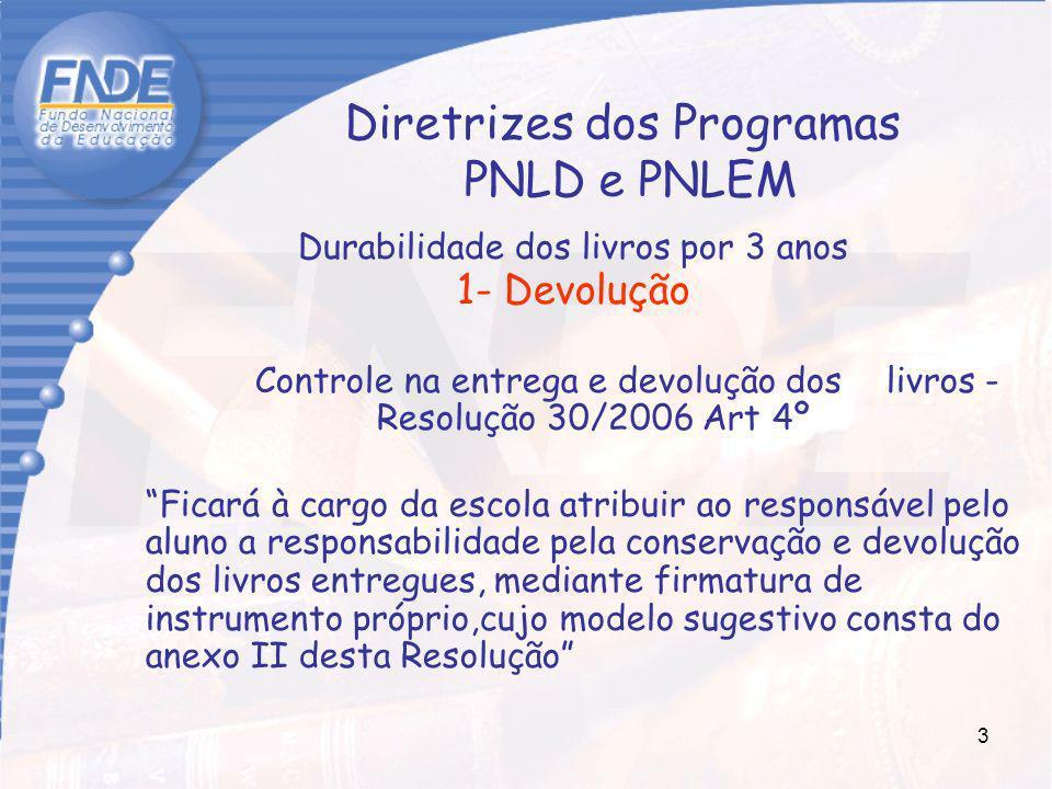 3 Diretrizes dos Programas PNLD e PNLEM Durabilidade dos livros por 3 anos 1- Devolução Controle na entrega e devolução dos livros - Resolução 30/2006