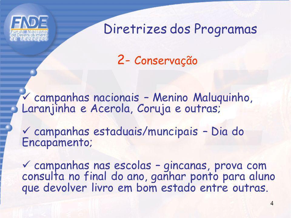 4 Diretrizes dos Programas 2- Conservação campanhas nacionais – Menino Maluquinho, Laranjinha e Acerola, Coruja e outras; campanhas estaduais/muncipai