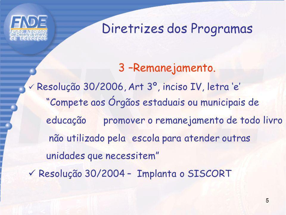 5 Diretrizes dos Programas 3 –Remanejamento. Resolução 30/2006, Art 3º, inciso IV, letra e Compete aos Órgãos estaduais ou municipais de educação prom