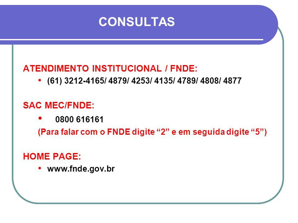 CONSULTAS ATENDIMENTO INSTITUCIONAL / FNDE: (61) 3212-4165/ 4879/ 4253/ 4135/ 4789/ 4808/ 4877 SAC MEC/FNDE: 0800 616161 (Para falar com o FNDE digite