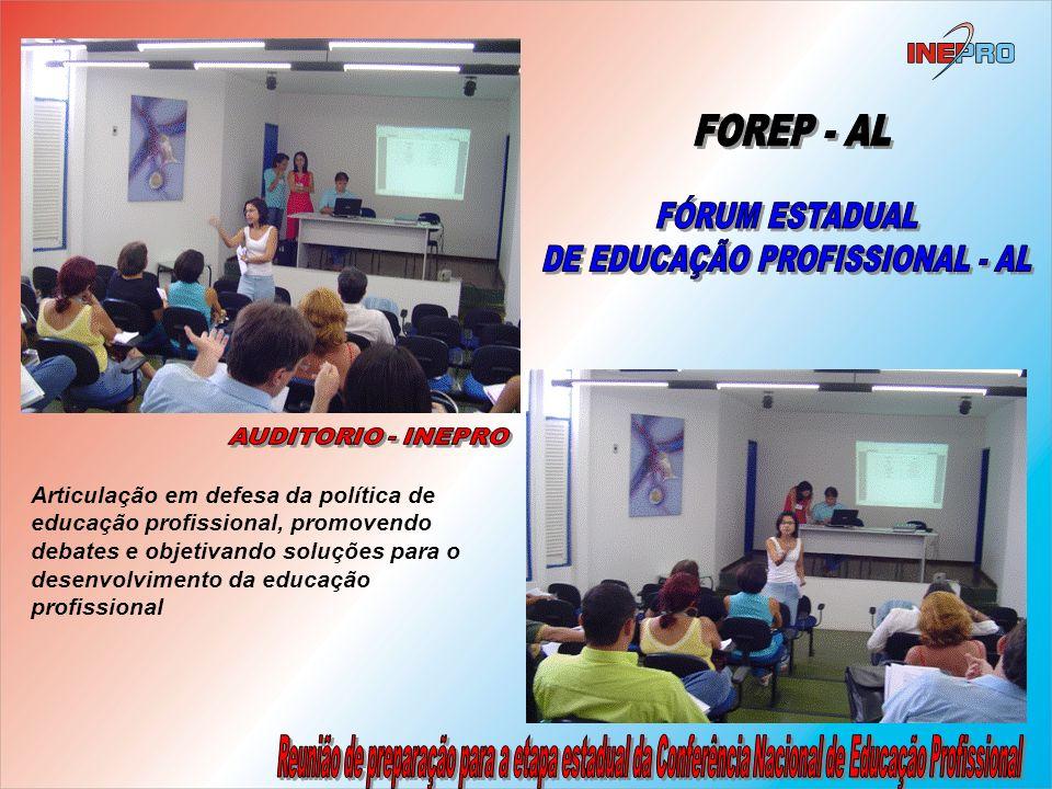 Articulação em defesa da política de educação profissional, promovendo debates e objetivando soluções para o desenvolvimento da educação profissional