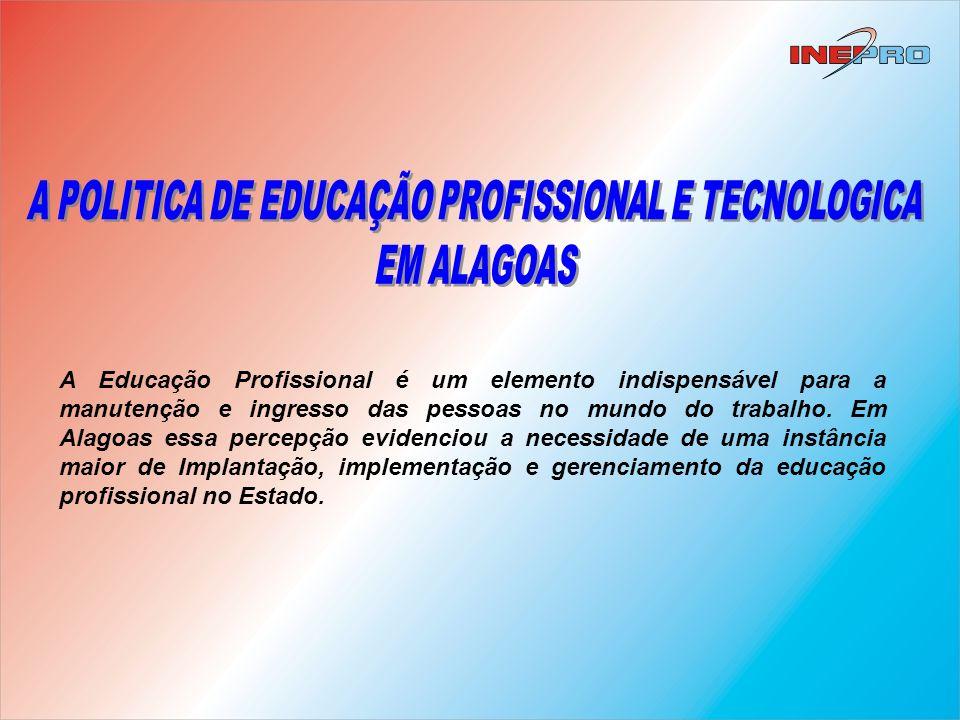 Em 2000 é criado o Instituto de Educação Profissional – INEPRO, com o objetivo de implantar, implementar e gerir a Educação Profissional de ALAGOAS, através de cursos profissionalizantes nos níveis básico, técnico e tecnológico.
