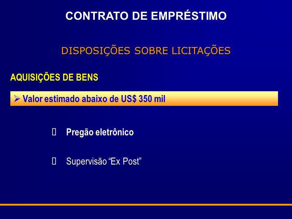 CONTRATO DE EMPRÉSTIMO DISPOSIÇÕES SOBRE LICITAÇÕES AQUISIÇÕES DE BENS Valor estimado abaixo de US$ 350 mil Pregão eletrônico Supervisão Ex Post