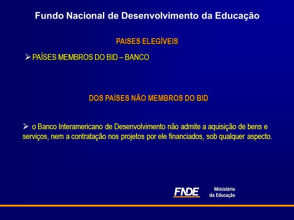 Fundo Nacional de Desenvolvimento da Educação PAISES ELEGÍVEIS PAÍSES MEMBROS DO BID – BANCO PAÍSES MEMBROS DO BID – BANCO o Banco Interamericano de D