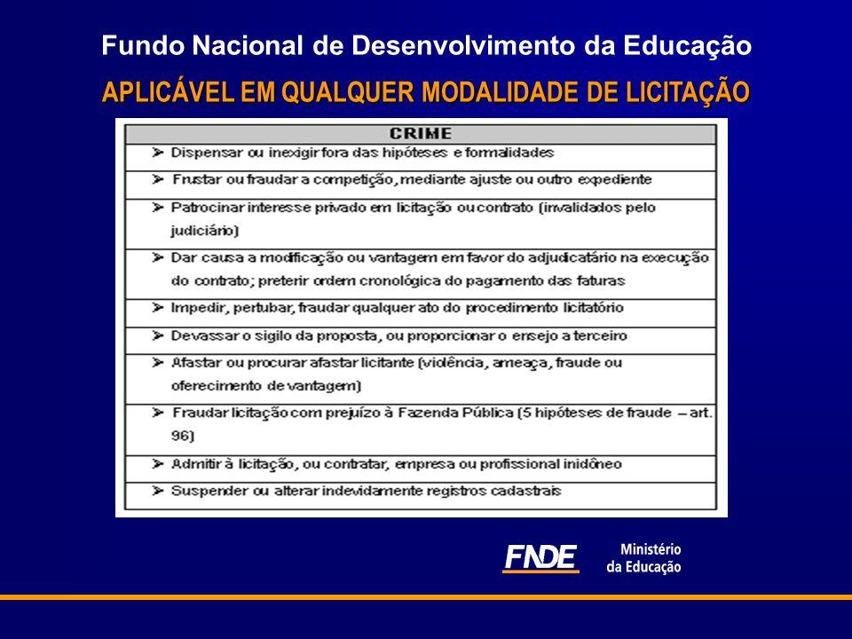 Fundo Nacional de Desenvolvimento da Educação APLICÁVEL EM QUALQUER MODALIDADE DE LICITAÇÃO