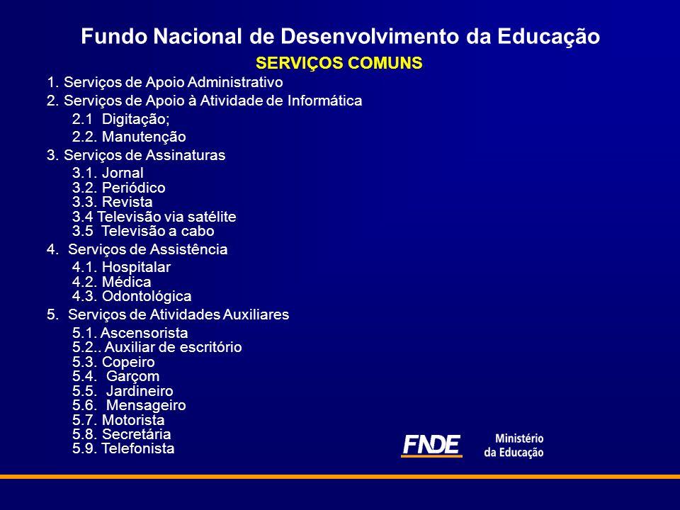 Fundo Nacional de Desenvolvimento da Educação SERVIÇOS COMUNS 1. Serviços de Apoio Administrativo 2. Serviços de Apoio à Atividade de Informática 2.1