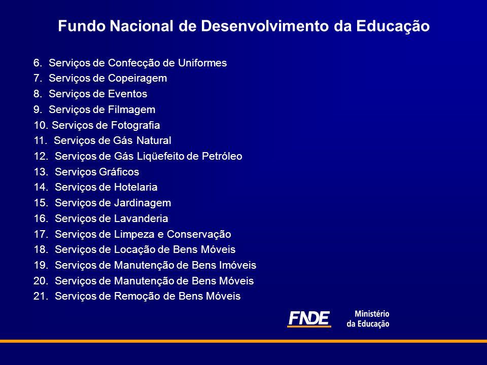 Fundo Nacional de Desenvolvimento da Educação 6. Serviços de Confecção de Uniformes 7. Serviços de Copeiragem 8. Serviços de Eventos 9. Serviços de Fi