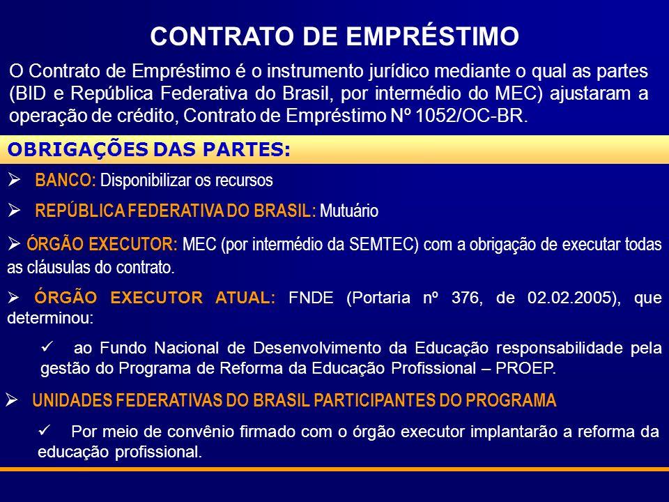 CONTRATO DE EMPRÉSTIMO O Contrato de Empréstimo é o instrumento jurídico mediante o qual as partes (BID e República Federativa do Brasil, por intermédio do MEC) ajustaram a operação de crédito, Contrato de Empréstimo Nº 1052/OC-BR.