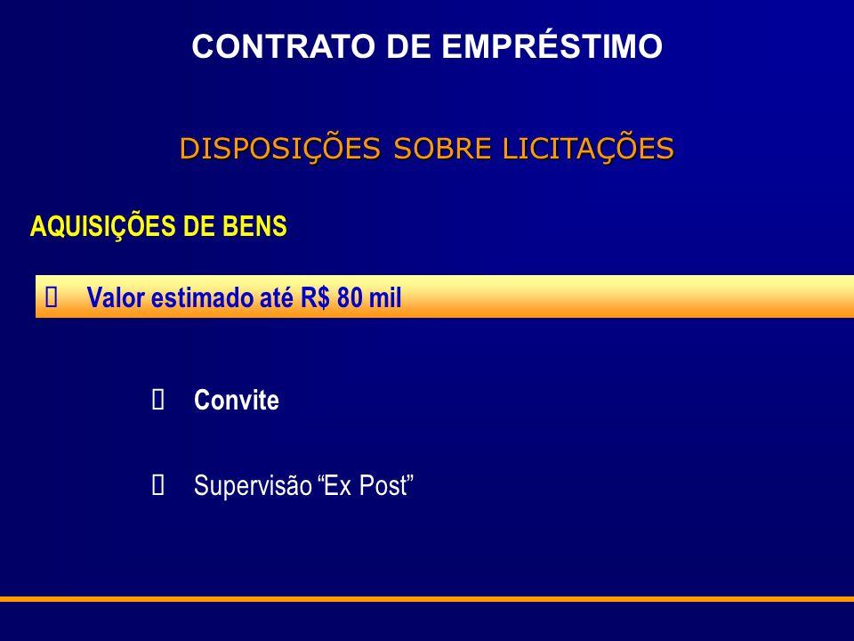 CONTRATO DE EMPRÉSTIMO DISPOSIÇÕES SOBRE LICITAÇÕES AQUISIÇÕES DE BENS Valor estimado abaixo de US$ 350 mil Concorrência Supervisão Ex Post