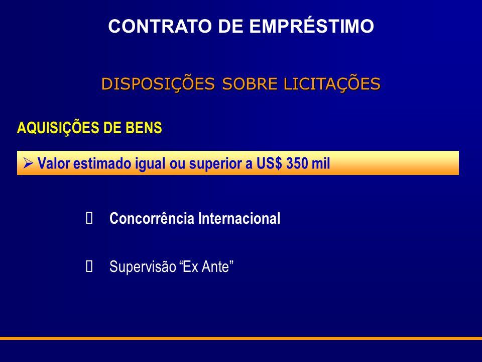 CONTRATO DE EMPRÉSTIMO DISPOSIÇÕES SOBRE LICITAÇÕES AQUISIÇÕES DE BENS Valor estimado igual ou superior a US$ 350 mil Concorrência Internacional Super