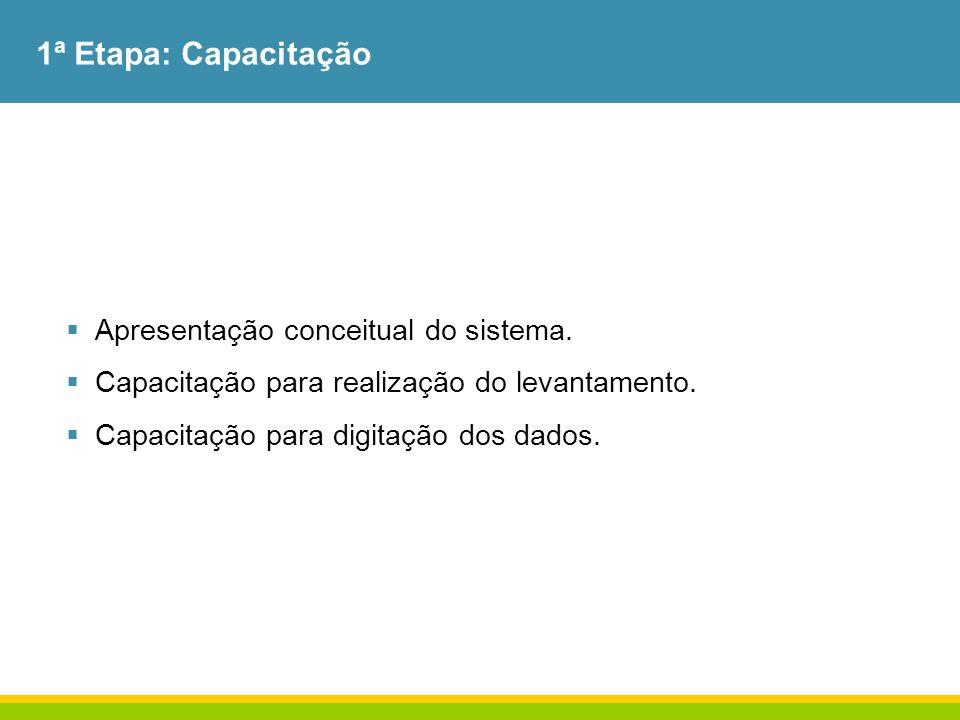 1ª Etapa: Capacitação Apresentação conceitual do sistema. Capacitação para realização do levantamento. Capacitação para digitação dos dados.