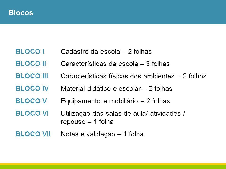 Blocos BLOCO ICadastro da escola – 2 folhas BLOCO IICaracterísticas da escola – 3 folhas BLOCO IIICaracterísticas físicas dos ambientes – 2 folhas BLO