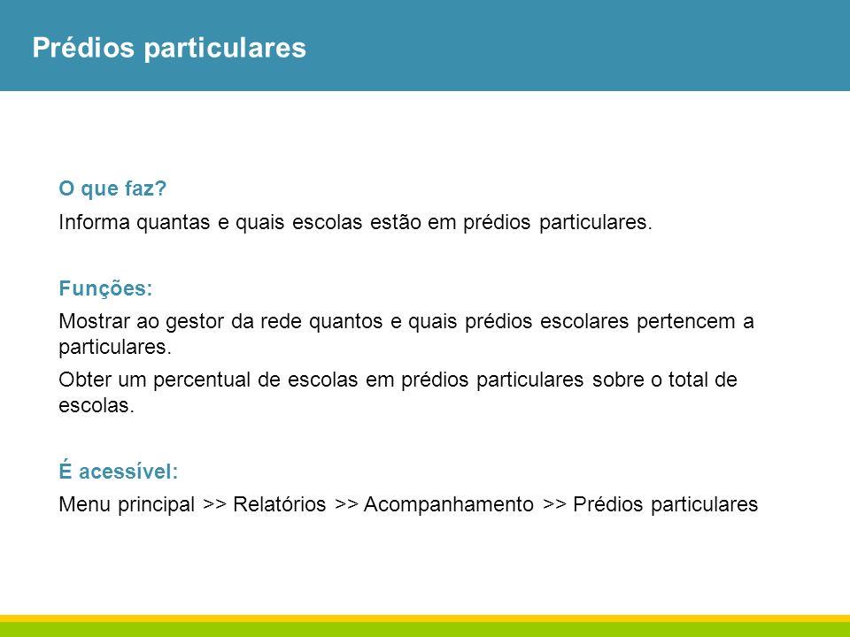 Prédios particulares O que faz? Informa quantas e quais escolas estão em prédios particulares. Funções: Mostrar ao gestor da rede quantos e quais préd