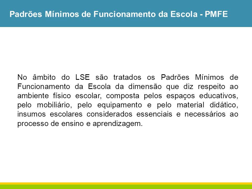 Padrões Mínimos de Funcionamento da Escola - PMFE No âmbito do LSE são tratados os Padrões Mínimos de Funcionamento da Escola da dimensão que diz resp