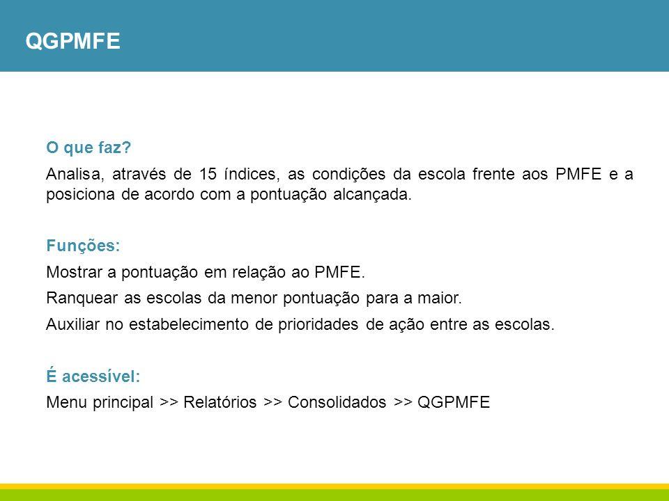 QGPMFE O que faz? Analisa, através de 15 índices, as condições da escola frente aos PMFE e a posiciona de acordo com a pontuação alcançada. Funções: M