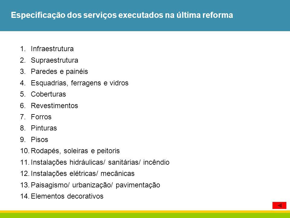 Especificação dos serviços executados na última reforma 1.Infraestrutura 2.Supraestrutura 3.Paredes e painéis 4.Esquadrias, ferragens e vidros 5.Cober