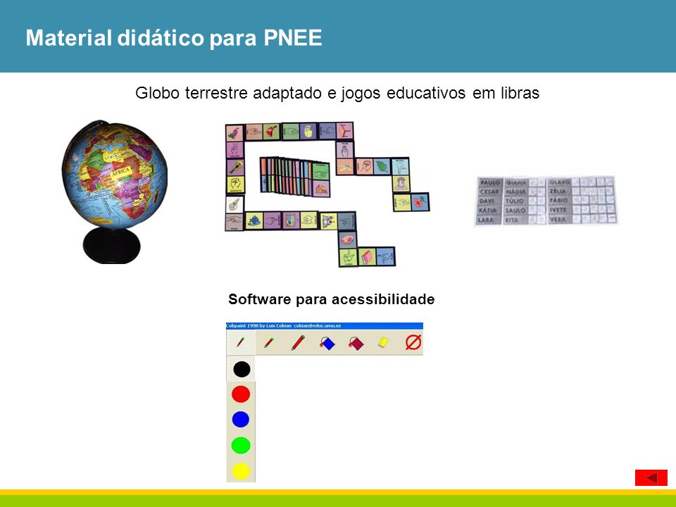 Material didático para PNEE Globo terrestre adaptado e jogos educativos em libras Software para acessibilidade