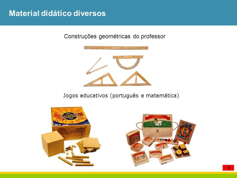 Material didático diversos Construções geométricas do professor Jogos educativos (português e matemática)