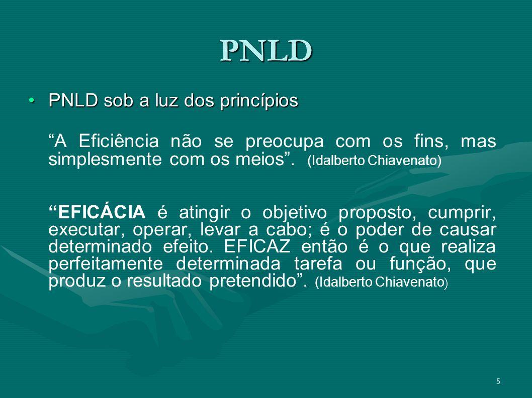 5 PNLD PNLD sob a luz dos princípiosPNLD sob a luz dos princípios A Eficiência não se preocupa com os fins, mas simplesmente com os meios. (Idalberto