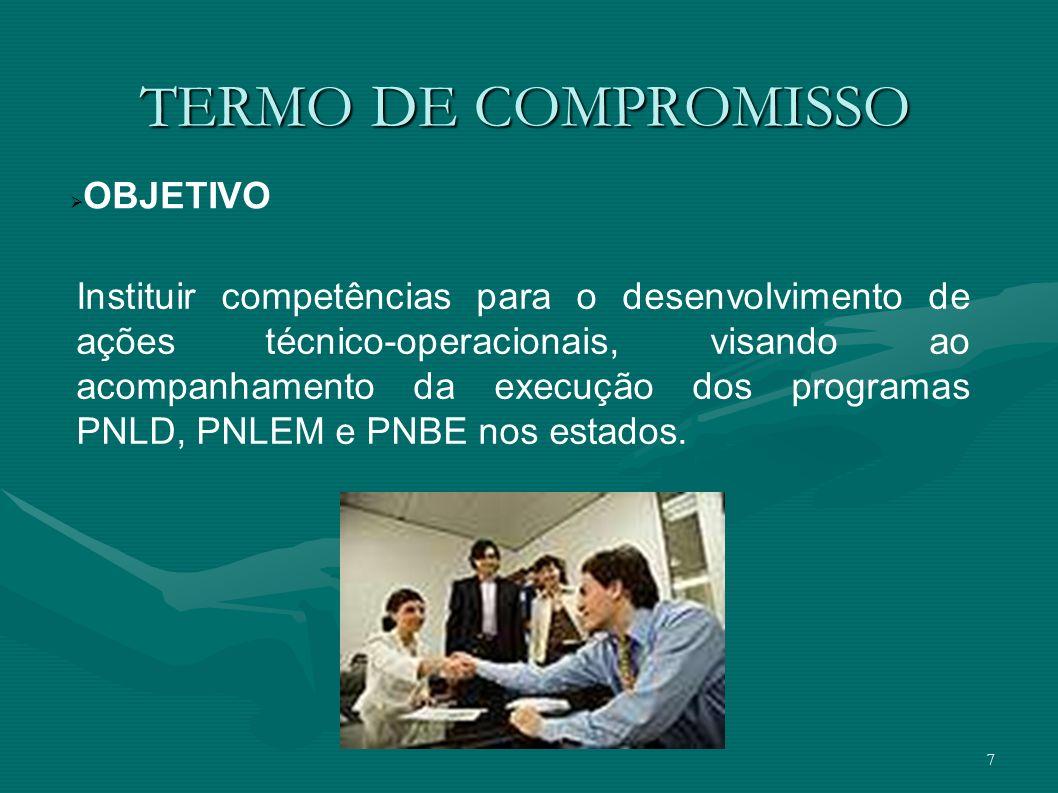 7 TERMO DE COMPROMISSO OBJETIVO Instituir competências para o desenvolvimento de ações técnico-operacionais, visando ao acompanhamento da execução dos