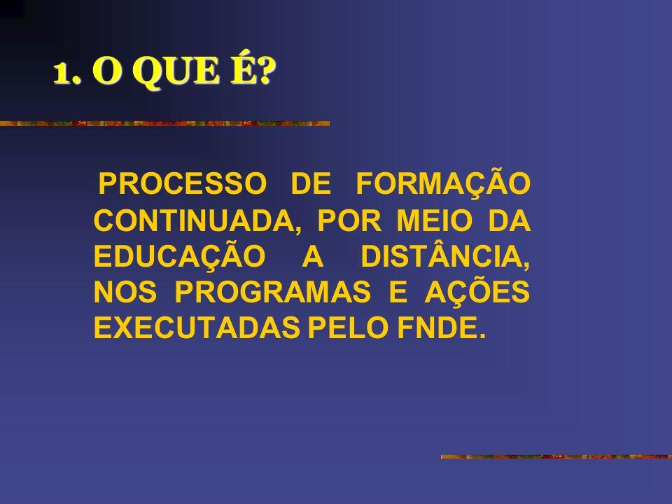 MINISTÉRIO DA EDUCAÇÃO – MEC FUNDO NACIONAL DE DESENVOLVIMENTO DA EDUCAÇÃO – FNDE SECRETARIA DE EDUCAÇÃO A DISTÂNCIA - SEED PROGRAMA NACIONAL DE FORMA
