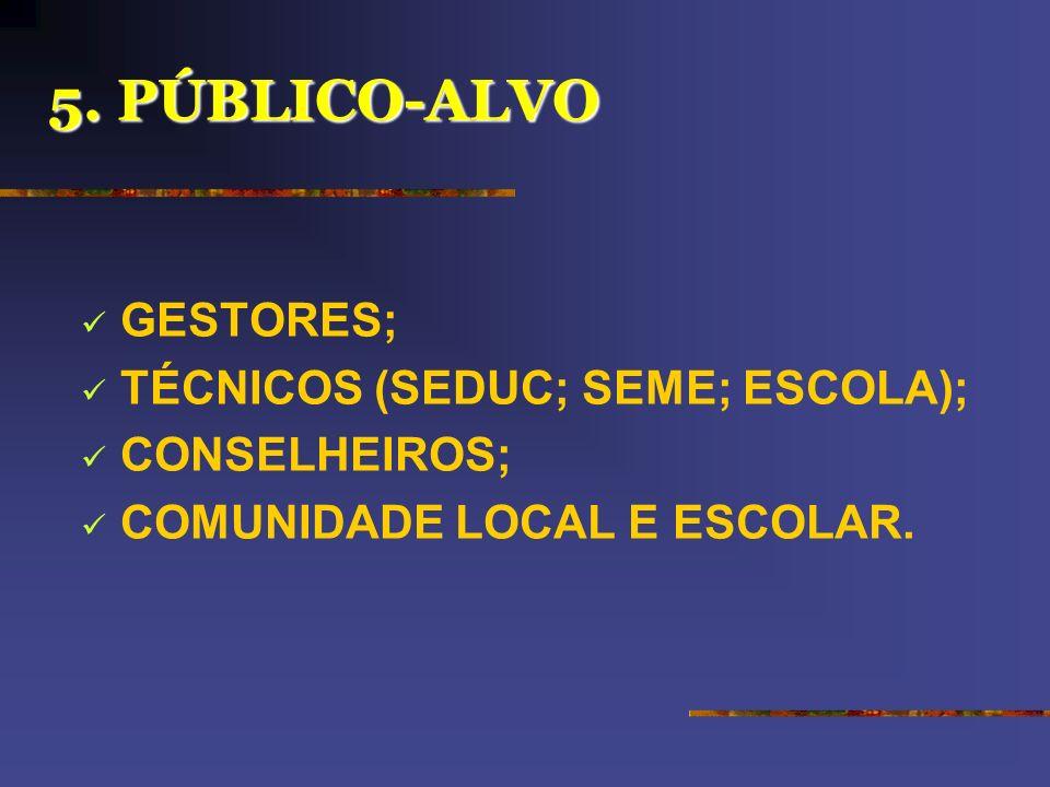 5. PÚBLICO-ALVO GESTORES; TÉCNICOS (SEDUC; SEME; ESCOLA); CONSELHEIROS; COMUNIDADE LOCAL E ESCOLAR.