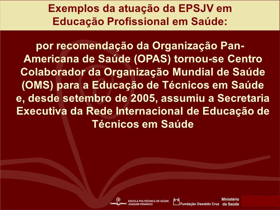 Exemplos da atuação da EPSJV em Educação Profissional em Saúde: por recomendação da Organização Pan- Americana de Saúde (OPAS) tornou-se Centro Colaborador da Organização Mundial de Saúde (OMS) para a Educação de Técnicos em Saúde e, desde setembro de 2005, assumiu a Secretaria Executiva da Rede Internacional de Educação de Técnicos em Saúde
