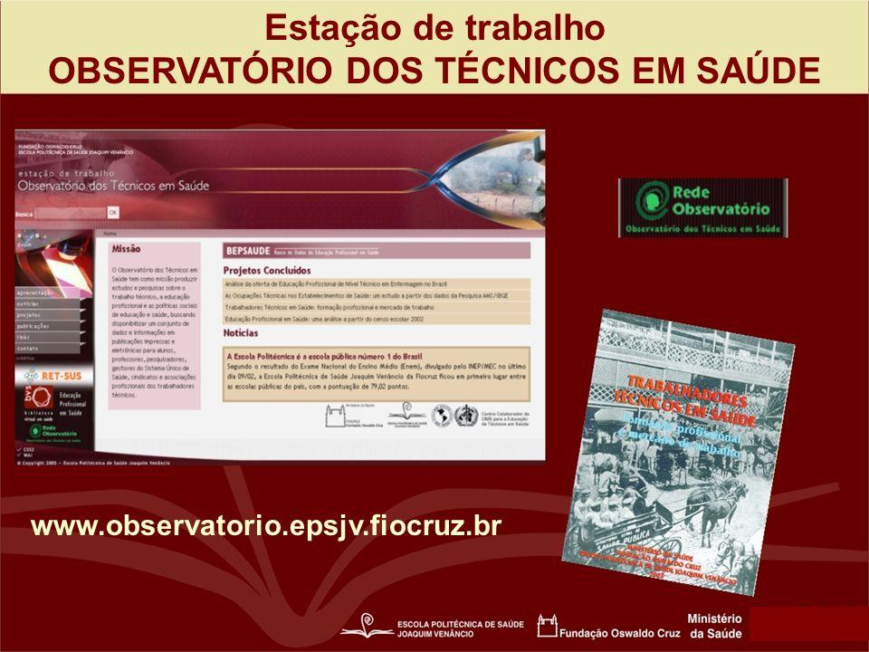 Estação de trabalho OBSERVATÓRIO DOS TÉCNICOS EM SAÚDE www.observatorio.epsjv.fiocruz.br