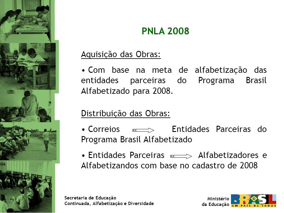 Aquisição das Obras: Com base na meta de alfabetização das entidades parceiras do Programa Brasil Alfabetizado para 2008. Distribuição das Obras: Corr